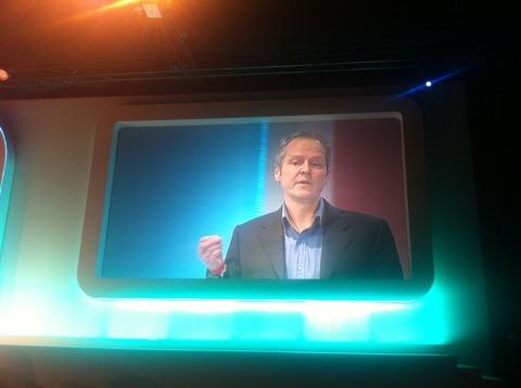 President of Ubisoft, Yves Guillemot, onstage.