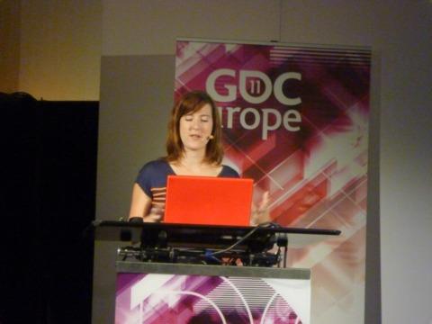 Santiago speaking at GDC Europe.
