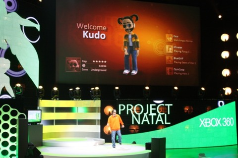 Tsunoda plays around with Natal's motion capture system.