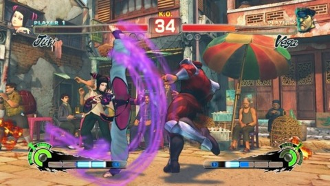 Juri is about to give M. Bison (Vega in Japan) a good old-fashioned boot to the head.