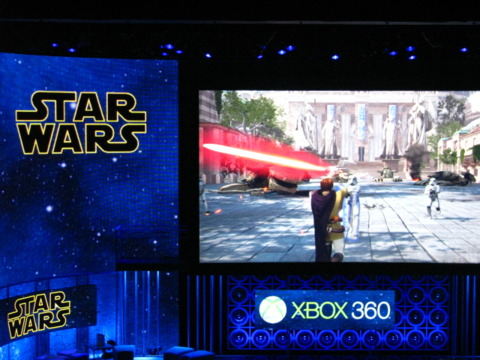 Here's the Star Wars Kinect title from Lucasarts.