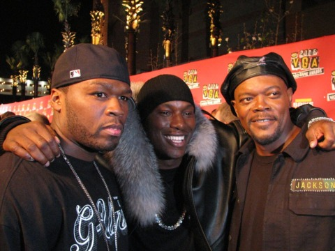 Fiddy, Tyrese, and Jackson hang before the event.