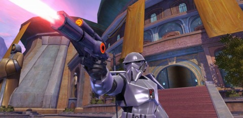 A Republic Special Forces trooper takes a shot at foes on Tython.