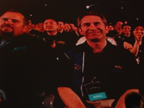 Blizzard's Mike Morhaime can't help but grin as Starcraft II is revealed.