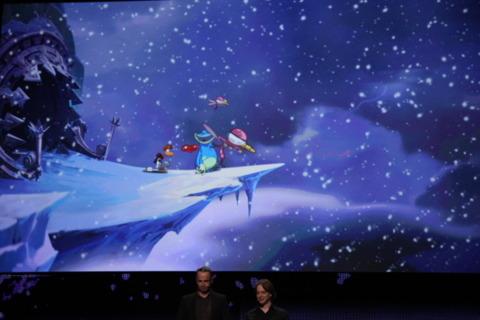 A snowy landscape in Rayman Origins.