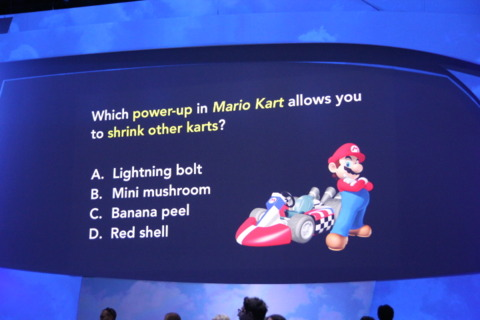 As per tradition, Nintendo is entertaining the crowd with pre-show trivia.