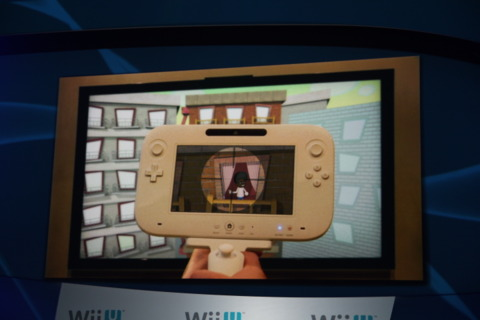 The Wii U controller in action.
