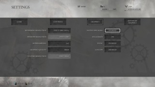 The Settings screen for Ryse on PC