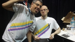 Adelman (left) alongside Super Meat Boy co-creator Tommy Refenes