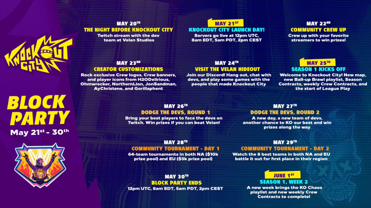 The Knockout City Block Party schedule