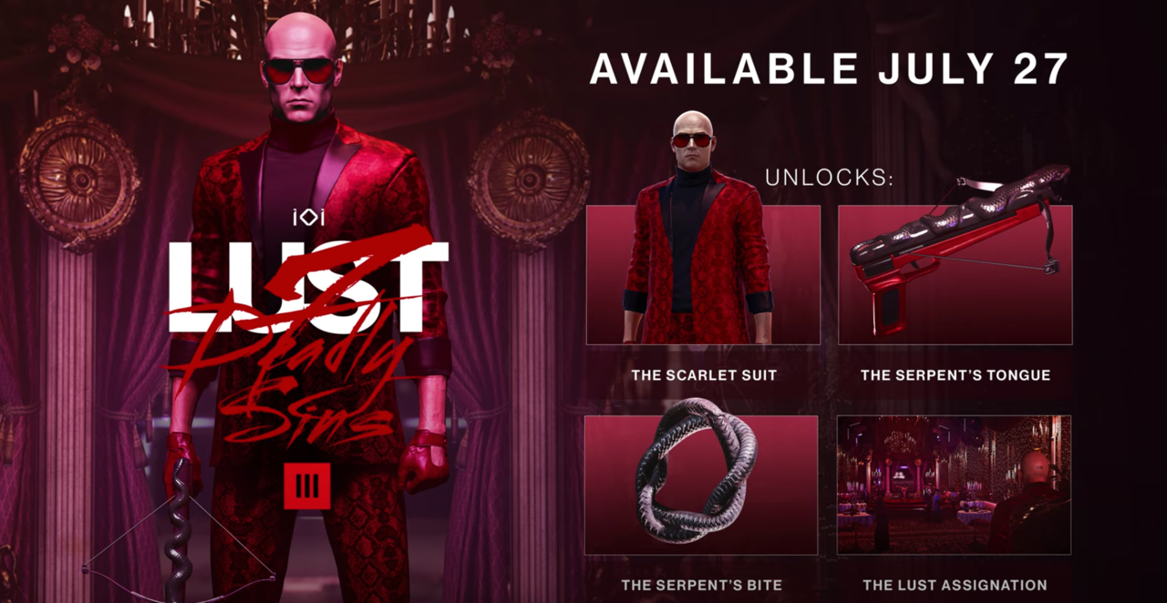 Hitman 3's Lust DLC launches on July 27