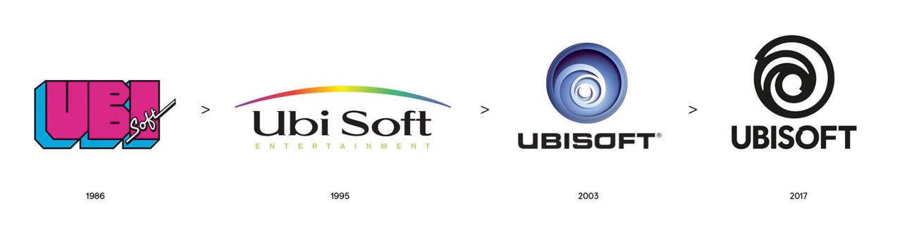 The progression of Ubisoft logos over the years, leading to 2017's new one
