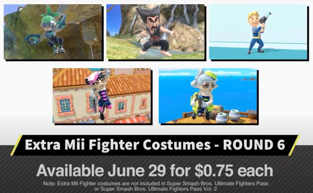 Smash Ultimate's new Fallout, Splatoon, Tekken, and Arms Mii Fighter costumes
