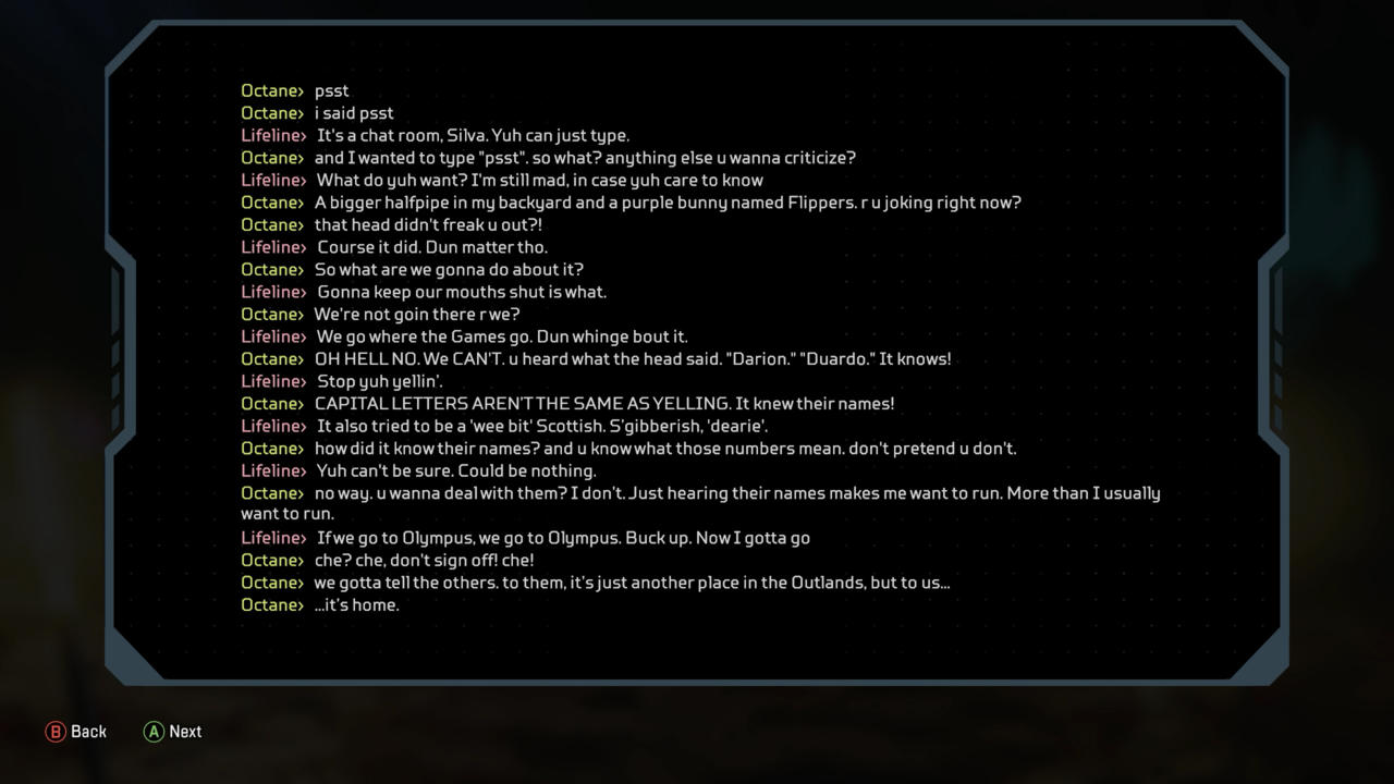Lifeline and Octane's conversation about Olympus