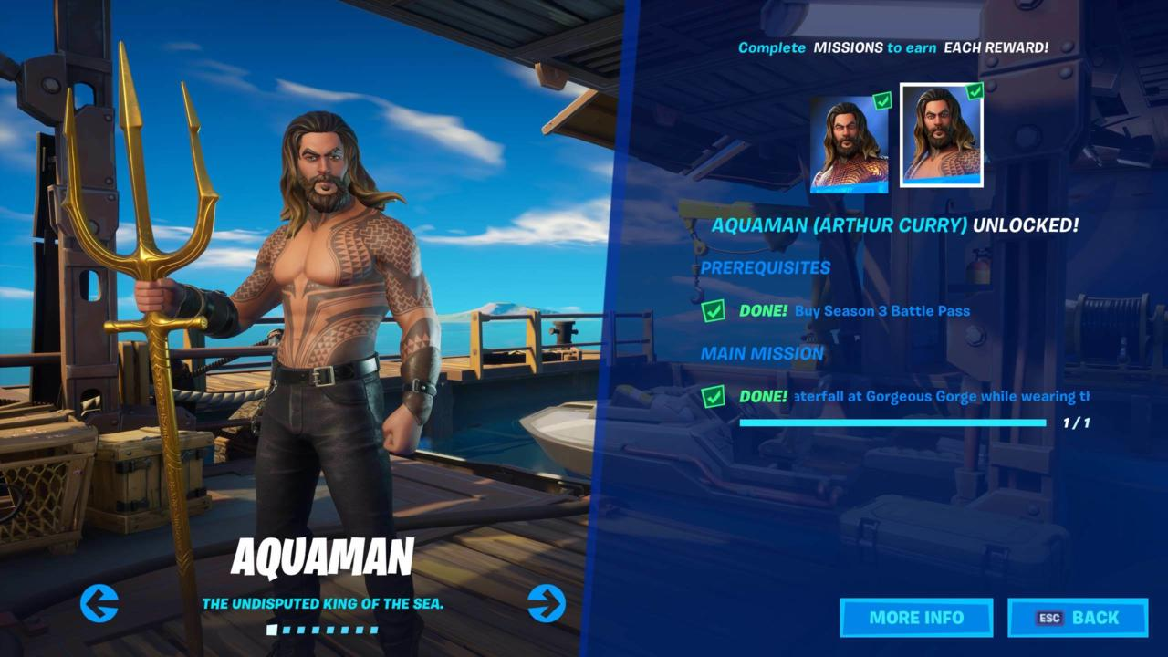 Fortnite's Aquaman (Arthur Curry) outfit