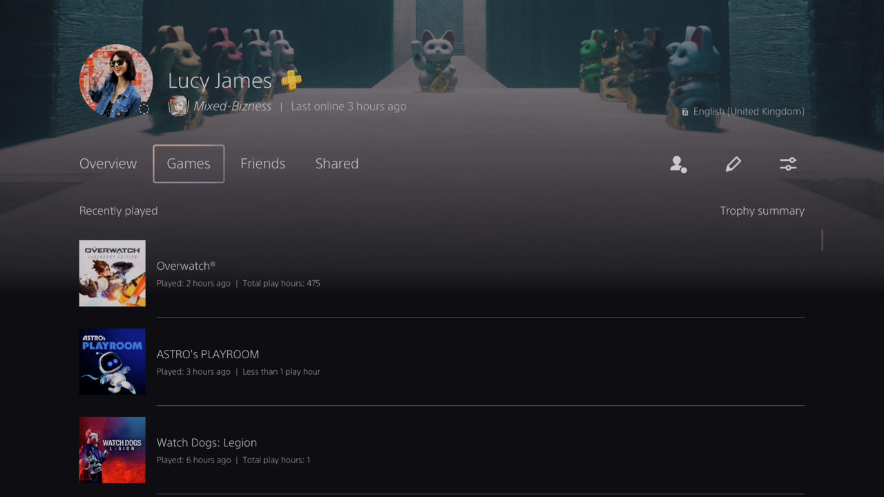 Playtimes displayed on a PS5 profile