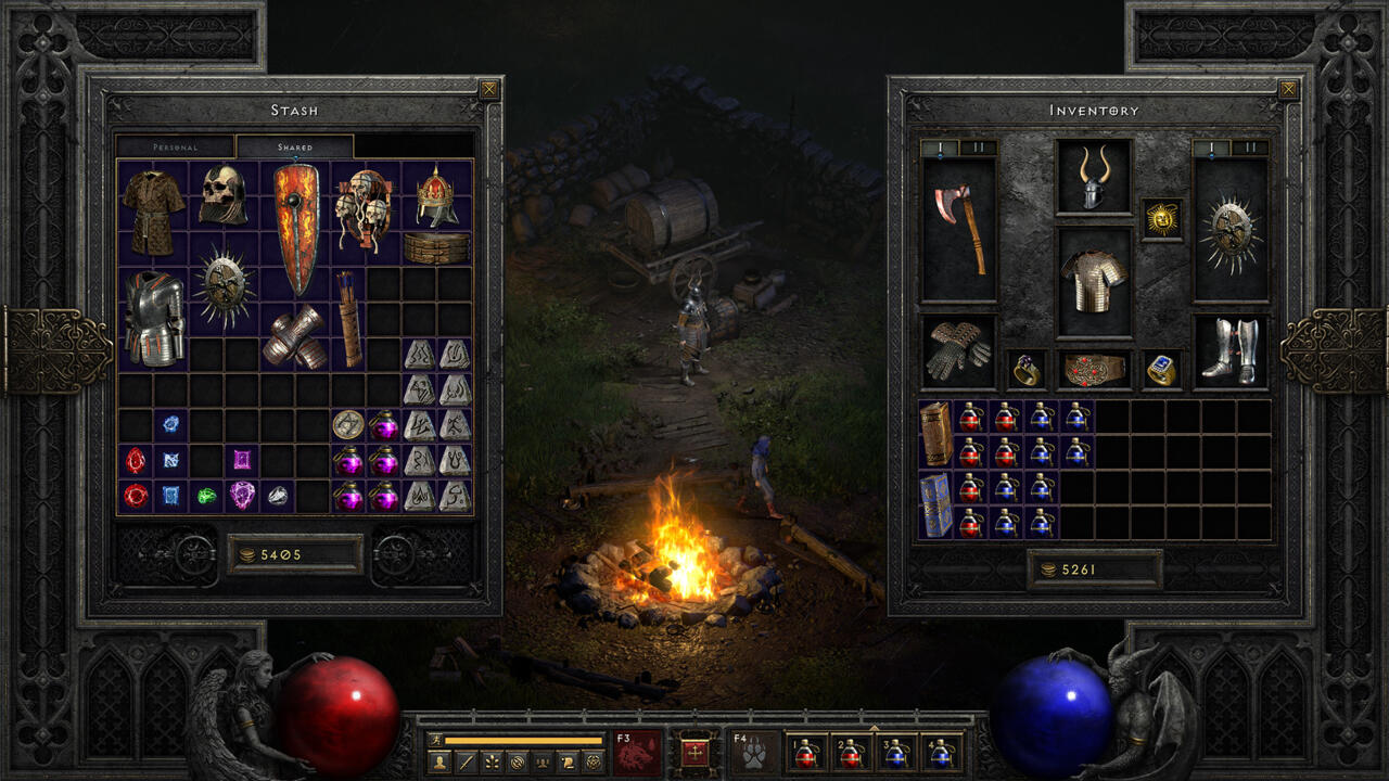 Diablo 2 Resurrected's inventory screen and shared stash space
