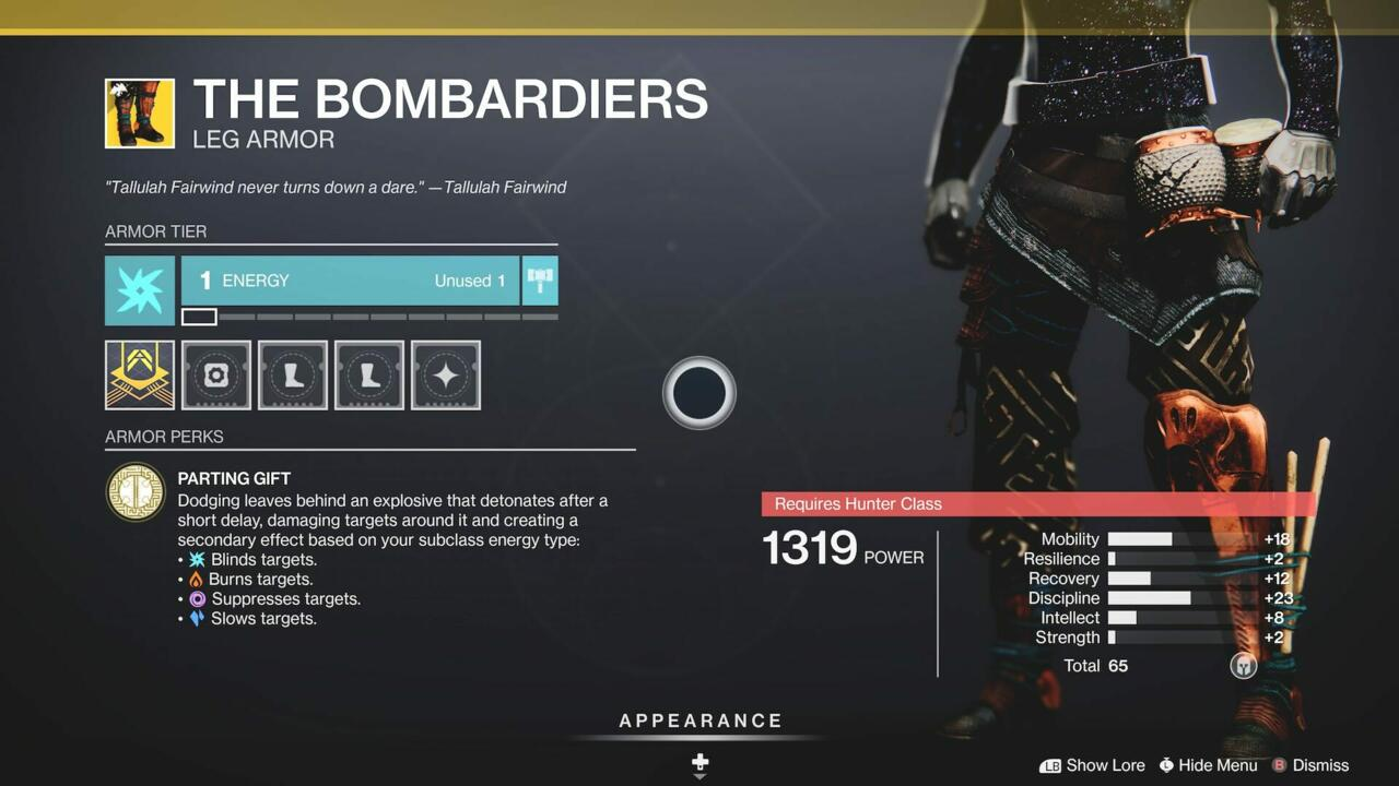 The Bombardiers are a nice cross-subclass leg armor
