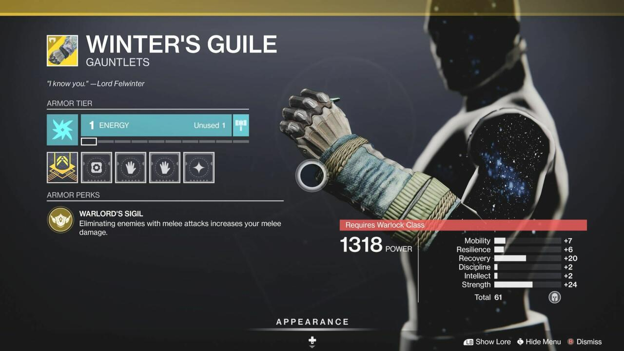 Winter's Guile are conducive to melee-happy Hunters