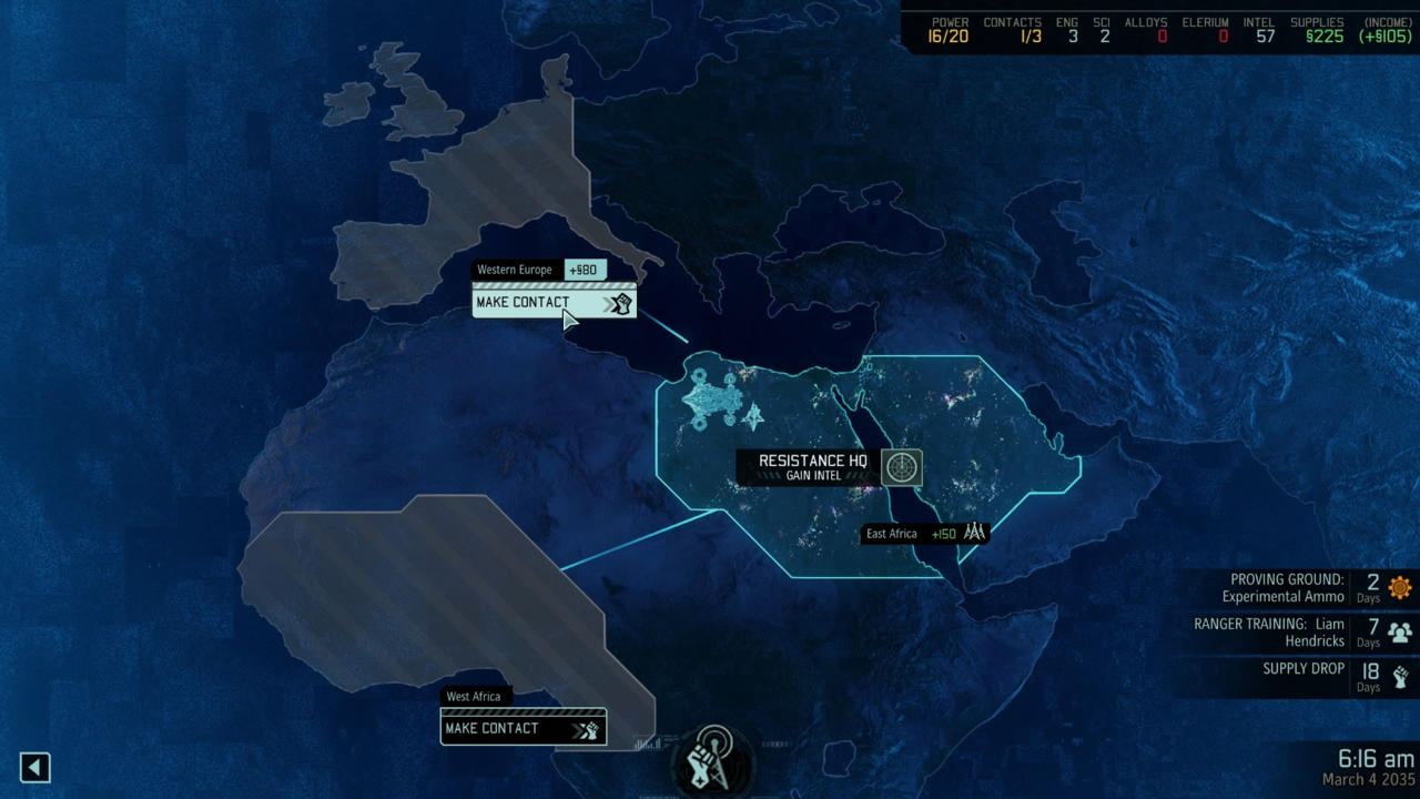 The strategy aspect is almost as important, as you make contact with rebel cells, and build your overall economy.