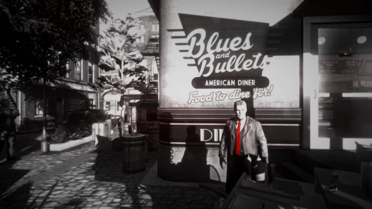 Blues and Bullets bleeds neo-noir style reminiscent of the Sin City movies. And not just because of the red slashes on the otherwise black-and-white scenery.