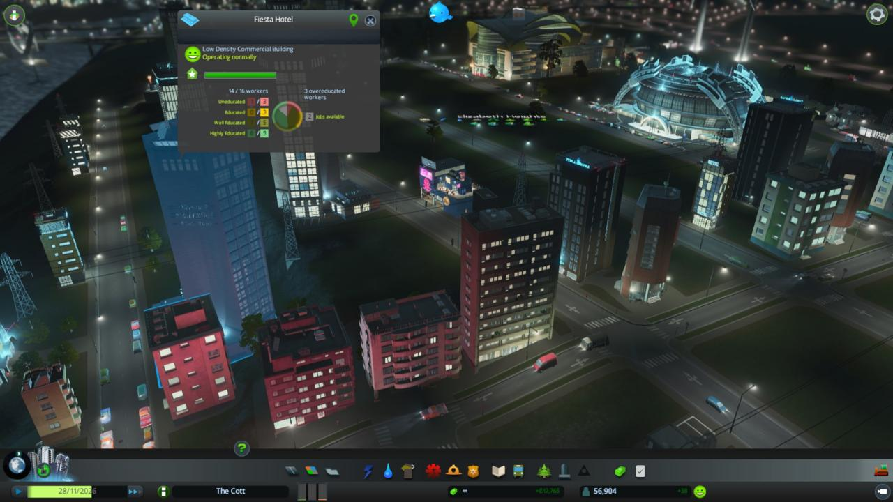 Carve out a Tourism district in a commercial zone in After Dark and these areas almost immediately take on new life after the sun goes down.