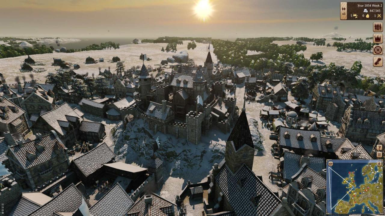 Grand Ages Medieval looks good when it showcases detailed models of towns and buildings.