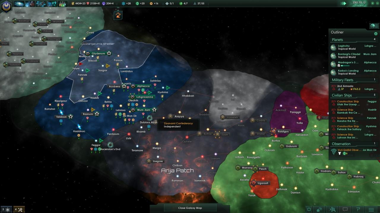 If you catch yourself sandwiched between two stronger empires, you'll have a tough time of advancing the game without creating some powerful alliances or risking a costly war.