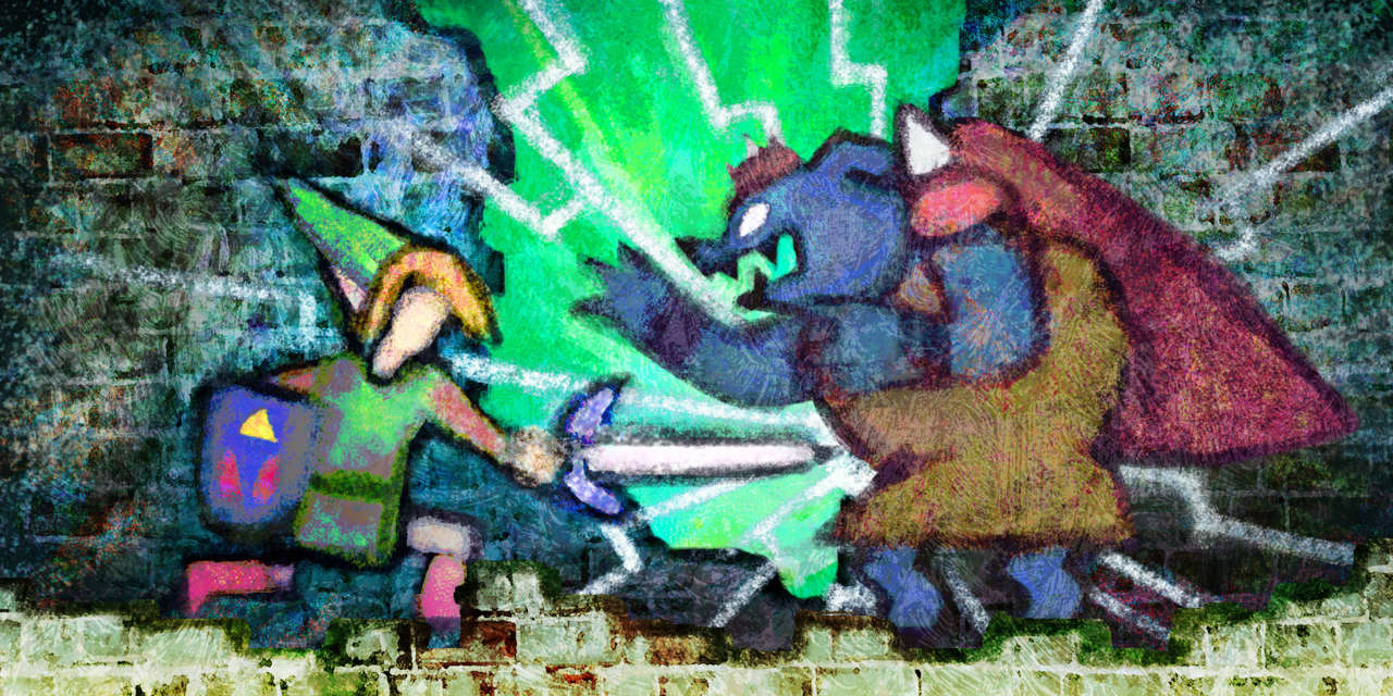 A series of murals explain the events of A Link to the Past.