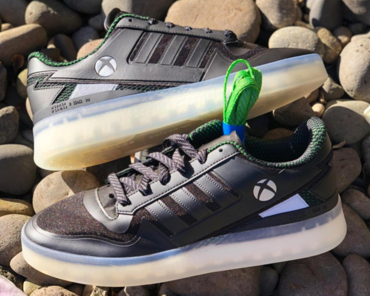 A prototype of the first pair of Adidas-Xbox shoes to be released, according to Complex's report.