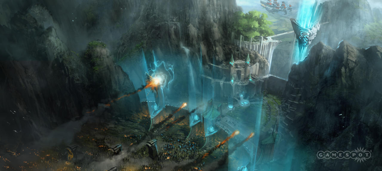 Concept artwork of the titular fortress under attack.