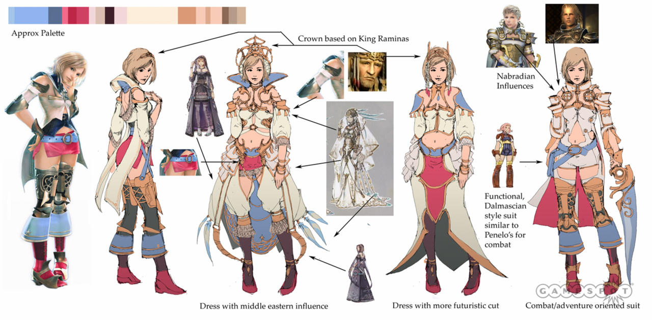 Concept art and a color palette for Queen Ashe. The outfit on the far left is how she appeared in Final Fantasy XII. On the far right is concept artwork for her battle armor.