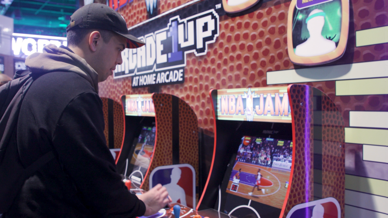 A closer look at NBA Jam's marquee and side-panel art