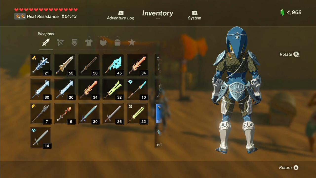 Zora Helm, Armor, and Greaves (Rear)