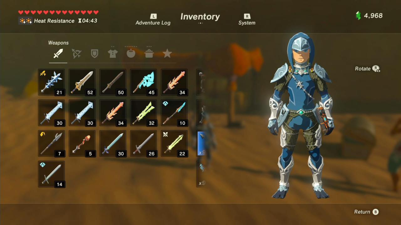 Zora Helm, Armor, and Greaves (Front)