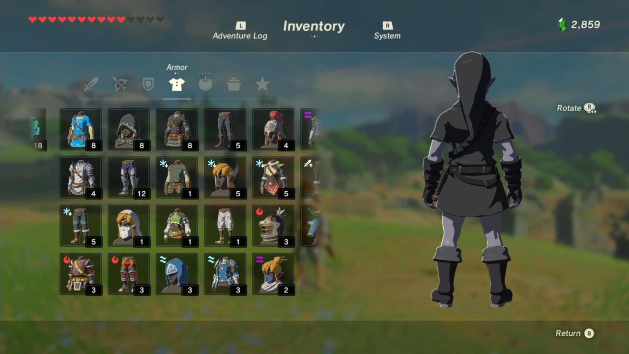 Dark Hood, Tunic, and Trousers (Rear)