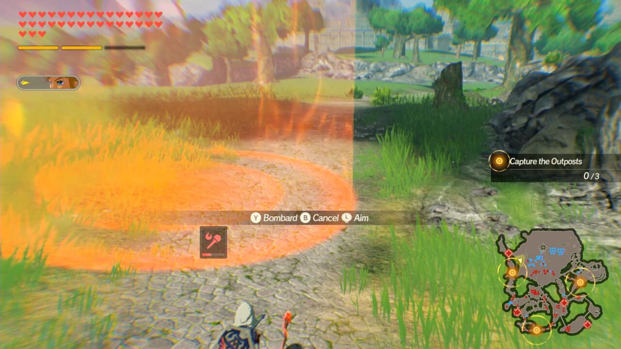 The power and size of the Elemental Rod blast will depend on the terrain you hit.