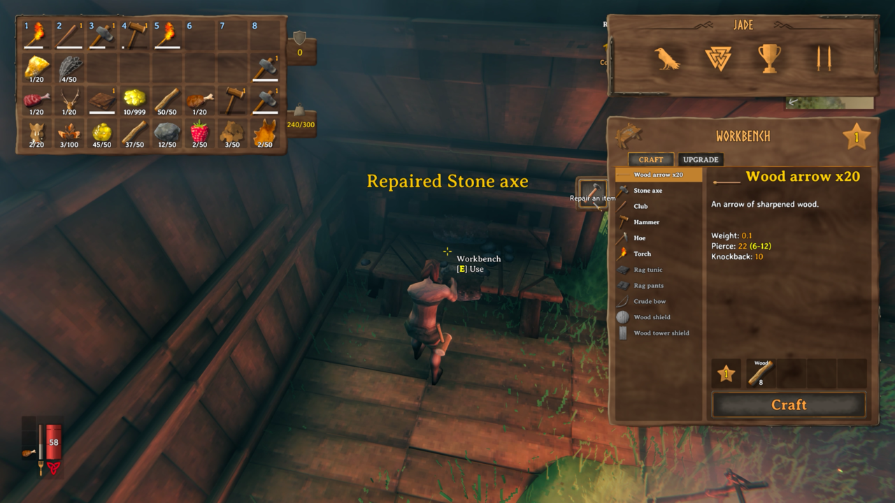Your workbench is the place to go for fixing and crafting items.