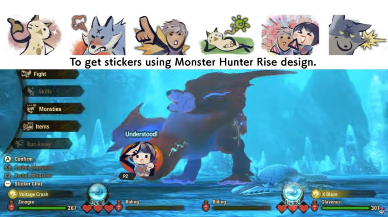 Monster Hunter Rise nabs you stickers from that game that you can use in Co-op and PvP.