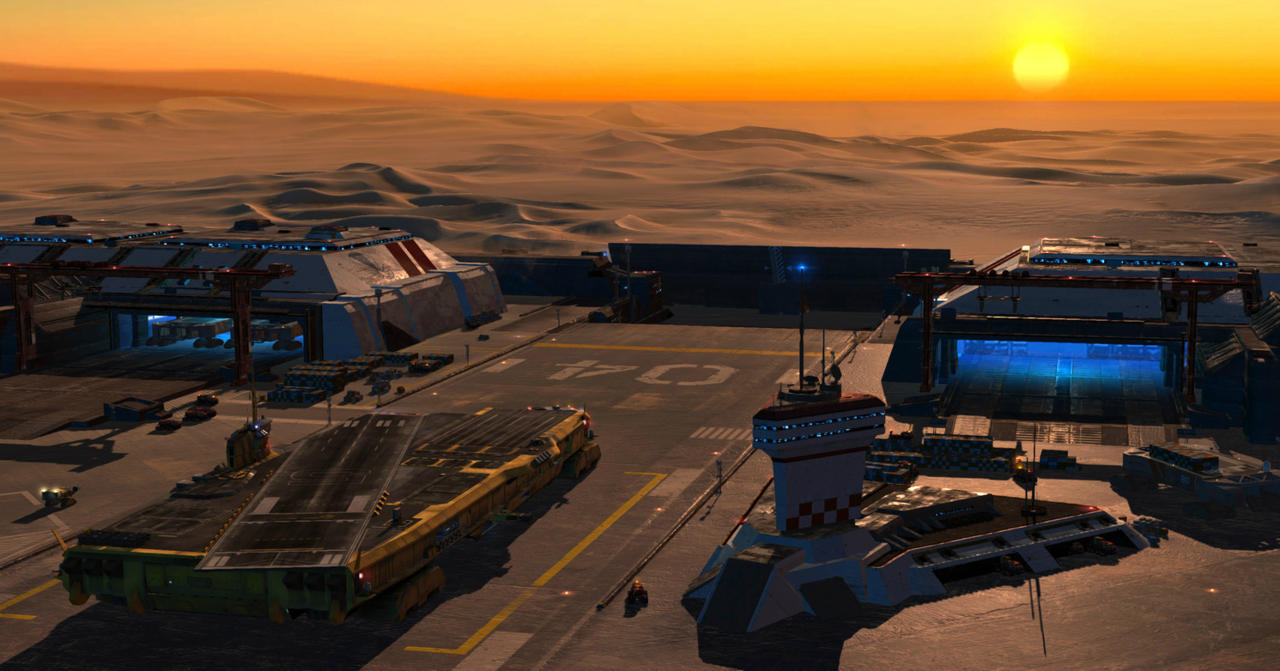 The campaign's tutorial mission begins in a Coalition base on the mysterious desert planet.