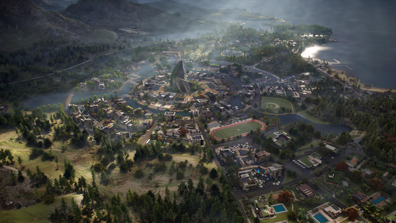 An aerial view of Liberty, Auroa's largest city