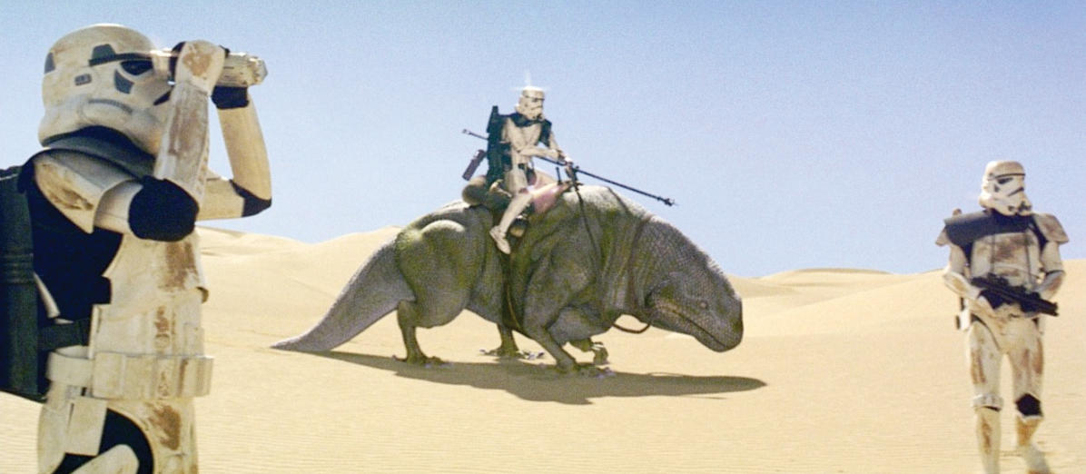 How many Dewbacks were in the original 1977 theatrical cut of the first Star Wars movie?