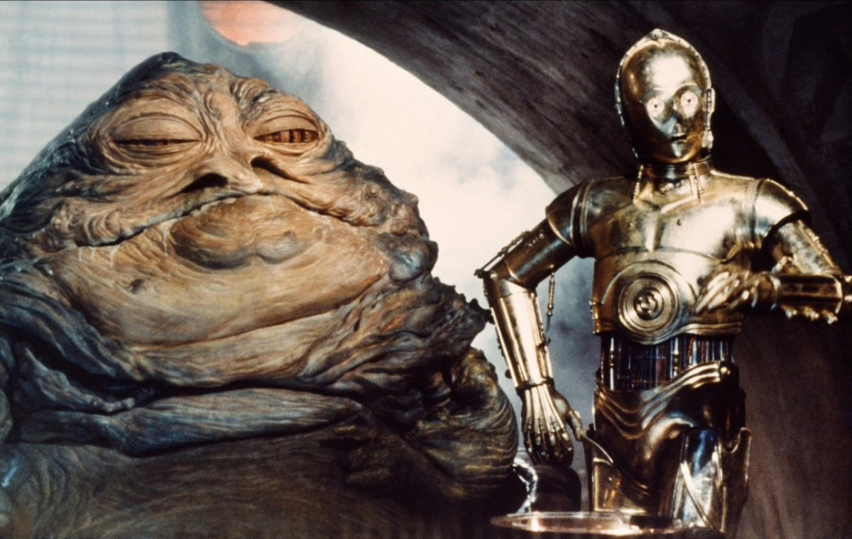 Which is the first original theatrical movie where we actually see Jabba the Hutt?