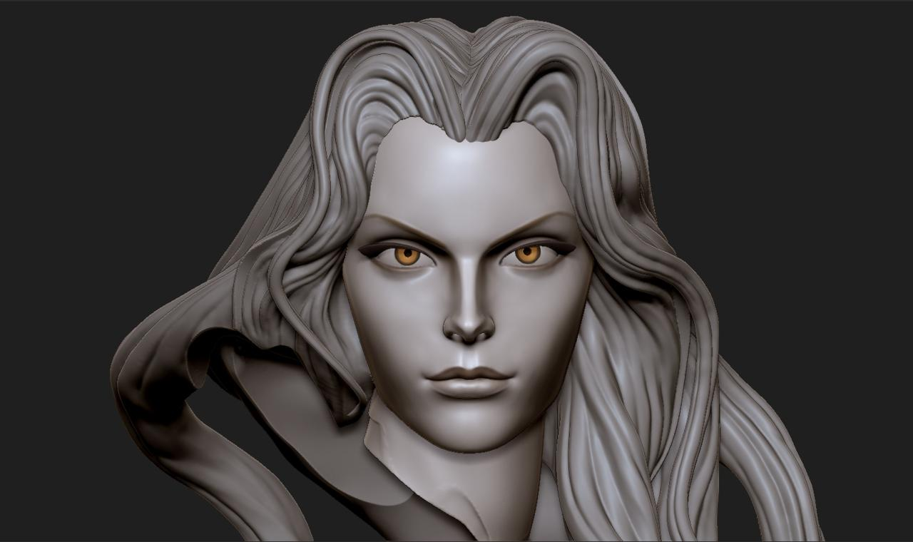 Close-up On 3D Model Of Alucard's Face