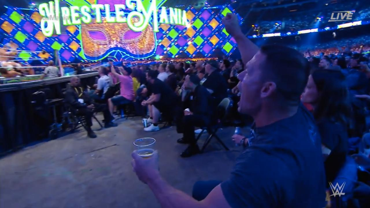 Excited--And Possibly Tipsy--Cena With Great Wrestlemania Seats