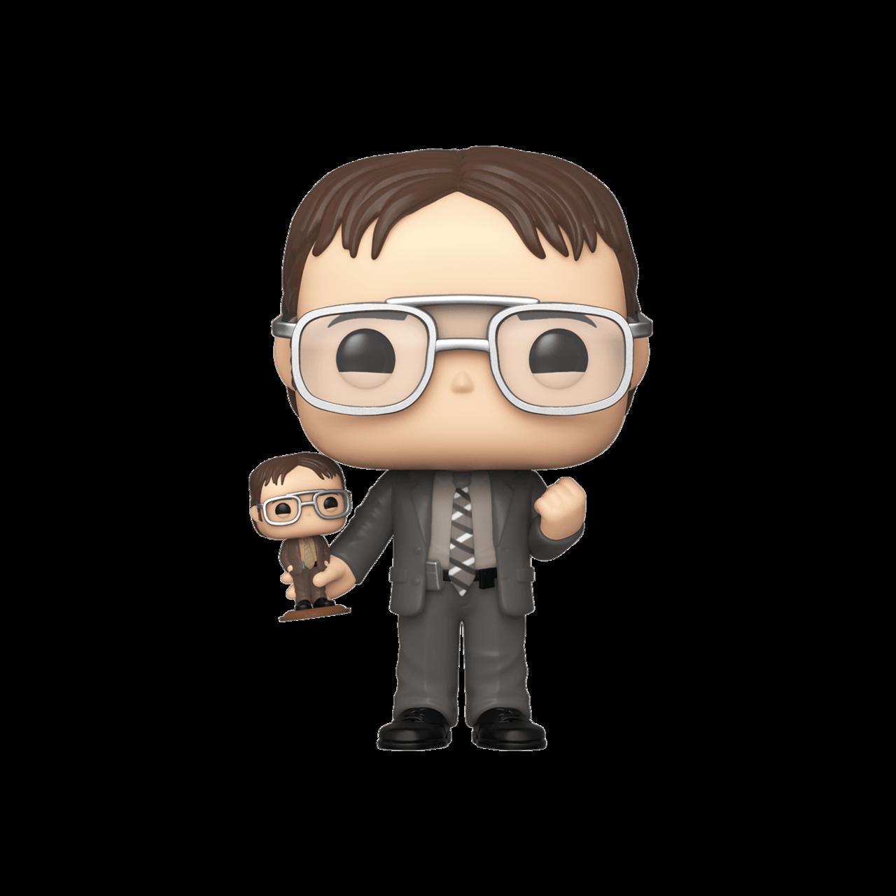 Dwight holding Dwight bobblehead