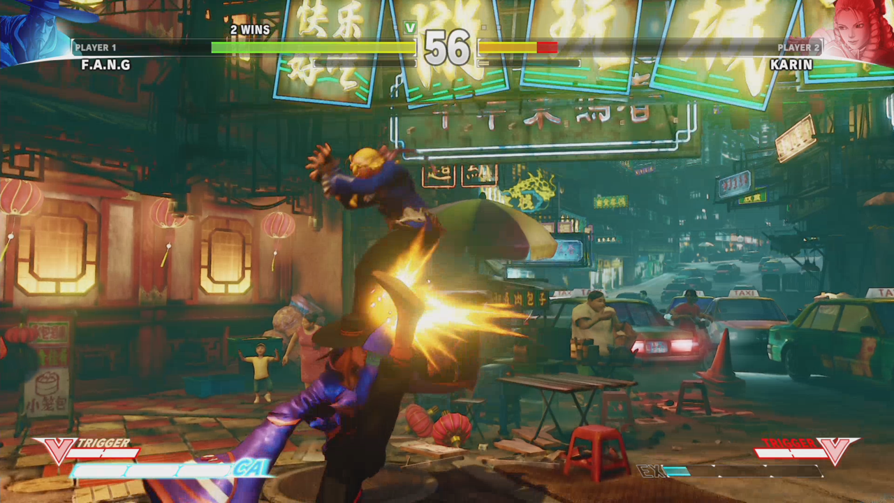 Fang's crouching medium kick is an anti-air that goes directly above his head.