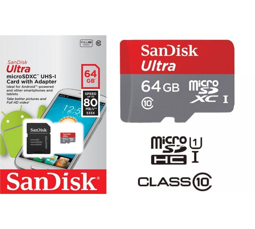 SanDisk Ultra 64GB microSDXC UHS-I Card