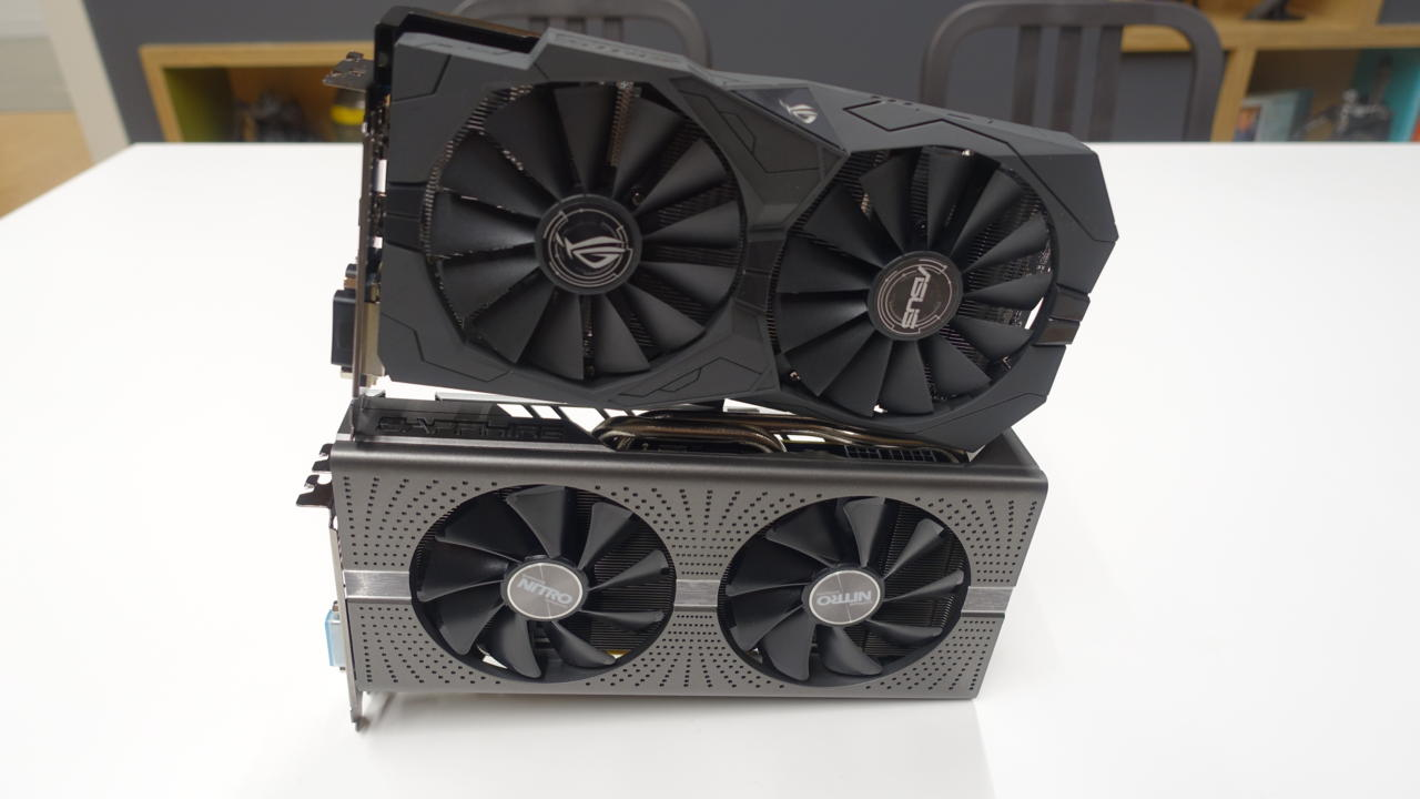 Pictured: Sapphire's RX 580 is on bottom. Asus' RX 570 is on top.