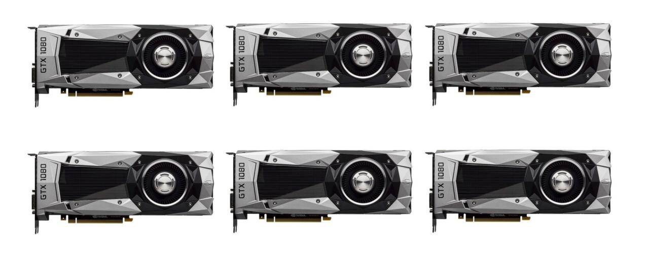 A six-pack of GTX 1080 cards will run you $6,300.